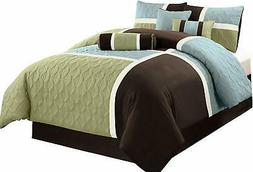 Chezmoi Collection 7-Piece Coffee Quilted Patchwork Comforte