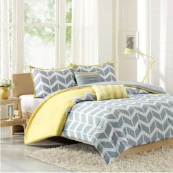 Chic Grey Yellow & White Chevron Reversible Comforter Set AN