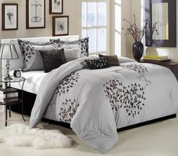 Chic Home Cheila 8-Piece Comforter Set, Queen, Silver
