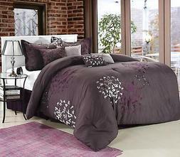 Chic Home Cheila 8-Piece Comforter Set, Queen, Plum
