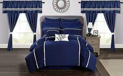Chic Home Mayan 24 Piece Comforter Set, Queen, Blue