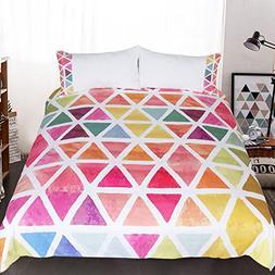 Sleepwish Chic Rainbow Colors Triangle Duvet Cover Modern Ge