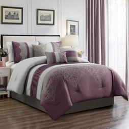 7-Piece Purple Gray Geometric Chenille Embroidery Striped Co