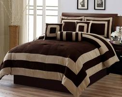 Chocolate Brown Micro Suede Patchwork KING Size Comforter Se