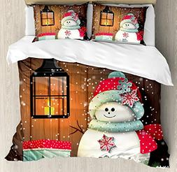Ambesonne Christmas Duvet Cover Set, Cute Snowman with Santa