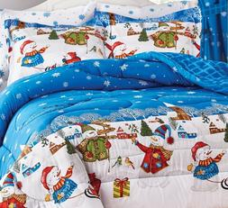 Christmas Winter Holiday Frosty Snowman F/Q/K Bed 8pc Comfor