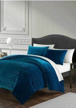 Chyna 3 Piece Comforter Set Luxurious Hand Stitched Velvet B