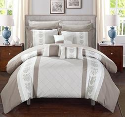 Chic Home Clayton 10 Piece Comforter Set, Queen, Beige