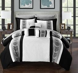 Chic Home Clayton 10 Piece Comforter Set, Queen, White