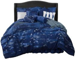 Clearance Sale Chezmoi Collection Blue 9pcs Jacquard Bedding
