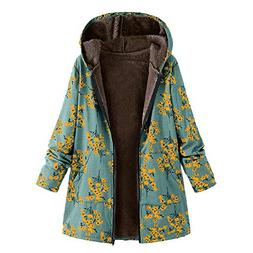 UONQD Clearance! Womens Winter Warm Outwear Floral Print Hoo