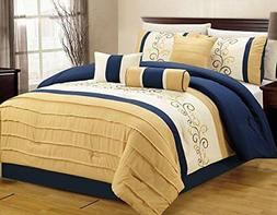 Luxlen 7 Piece Closeout Luxury Embroidery Bed in Bag Comfort