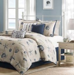 Coastal Comforter Set Queen Bed Cotton Bedding Cover Beach B