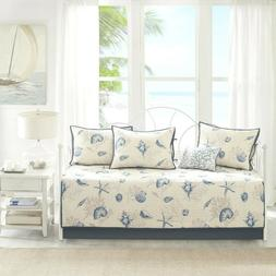Coastal Daybed Bedding Cover Set Ivory Blue Shell Starfish C