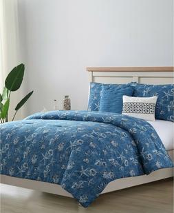 VCNY Home Coastal Reversible King Comforter Set in Blue