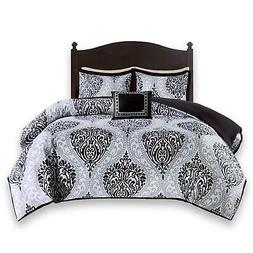 Comfort Spaces Coco Comforter Set - 4 Piece - Black and Whit