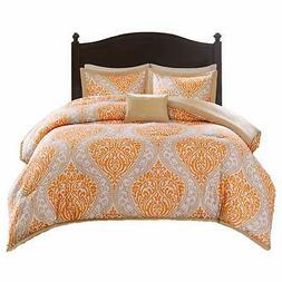 Comfort Spaces - Coco Comforter Set - 3 Piece - Orange and T
