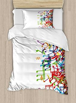 Ambesonne Colorful Duvet Cover Set Twin Size, Trippy Art Sty
