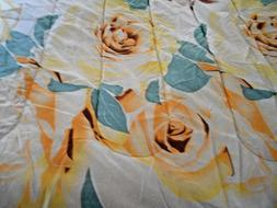 COMFORTER FULL SIZE FLORAL ROSE YELLOW TEAL ORANGE PRINT 75