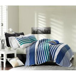 INK AND IVY COMFORTER MINI SET FULL QUEEN BLUE TEAL GRAY WHI