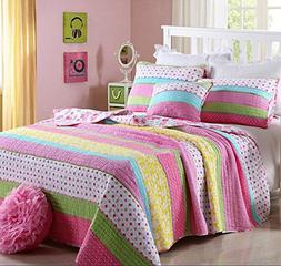 Best Comforter Set 3 Pieces Bedding Set Pink Dot Striped Flo