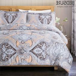 Bedsure Comforter Set Classics Grey Paisley Design Down Alte