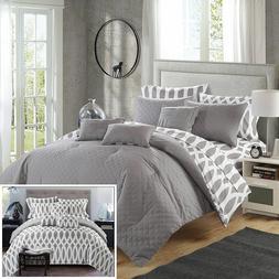 Chic Home 10 Piece Comforter Set Queen Grey