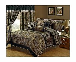 Comforter Set Luxury Bedding Queen Size 7 Piece Jacquard Pri