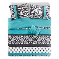 Comforter Set Queen Bedding Set - Sally 4 Piece Aqua Blue/Bl