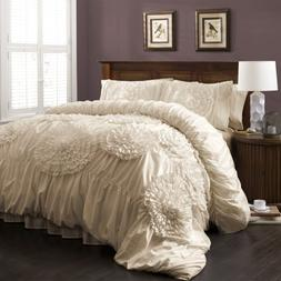 Lush Decor Serena 3-Piece Comforter Set King Ivory