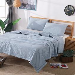 NTCOCO 3 Piece Comforter Set Thin Quilt Lightweight Comforte