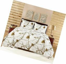NEW Comforter Set FULL Size Realtree Real Tree WHITE APC Sha