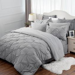 Bedsure 6 Piece Comforter Set Twin Size  Solid Grey Pinch Pl