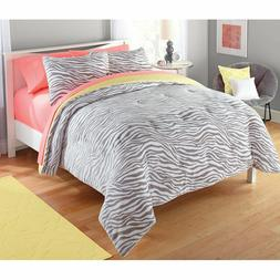 DCP Comforter Set Zebra Pattern Quilt Set, Reversible, Full/