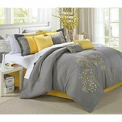 Comforter Sets 8-Piece Embroidery Set, King, Floral Yellow H