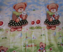COMFORTER TWIN SIZE TEDDY BEARS & BUNNIES GREEN BLUE 66 X 84