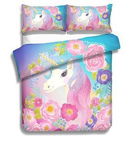 Suncloris,Cooper Girl Unicorn,Bedding Sheet Set .Included:1D