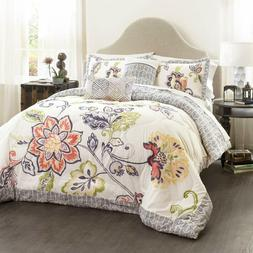 Lush Decor Coral and Navy Aster Comforter Set-Flower Pattern