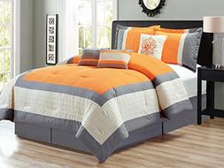 7-Pc Corey Pleated Square Border Damask Embroidery Comforter