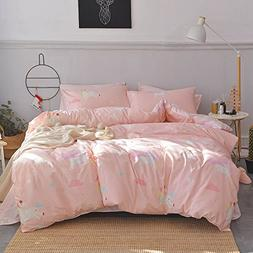 EAVD 100% Cotton Bedding Set Little Girl Reversible Cartoon
