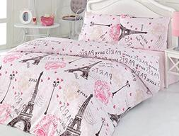 Cotton Bedding Set Paris with 3 Pieces Twin Duvet Cover, Eif