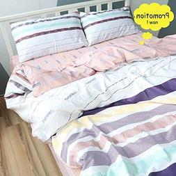 BuLuTu Cotton Colorful Horizontal Stripes Print Pattern Desi