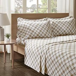 100% Cotton Flannel Sheets Set - Soft Plaid Queen Bed Sheet