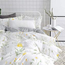 VClife Floral Duvet Cover Sets Full Queen Bedding Sets White