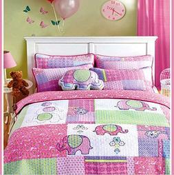 HNNSI 100% Cotton Girls Kids Quilt Bedspread Coverlet Set Qu