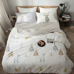 BuLuTu Kids Bedding Duvet Cover Sets Full White 100% Cotton,