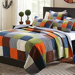 ON SALE Cotton Patchwork Quilt Bedspread Set Queen Plaid Pri