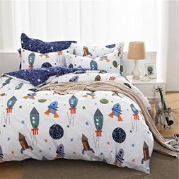 HNNSI Cotton Space Kids Boys Bedding Sets 4 Piece for Full S