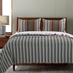 3pc Cozy Rich Brown Grey Yellow Blue Full Queen Quilt Set, C