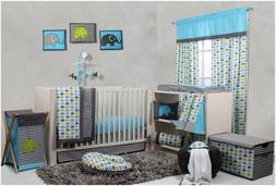 Crib Bedding Sets for Boys Blue Gray Elephant Baby Boy Nurse
